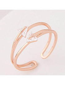 Elegant Rose Gold Triangle Shape Diamond Decorated Hollow Out Design Ring