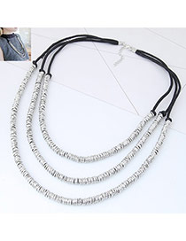 Fashion Silver Color+black Color Matching Decorated Multi-layer Design Necklace