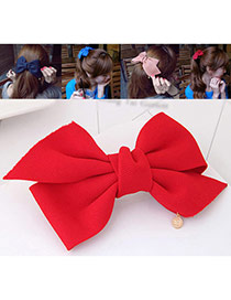 Fashion Red Bowknot Decorated Pure Color Design Hair Claw