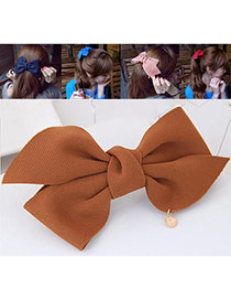 Fashion Yellow Bowknot Decorated Pure Color Design Hair Claw