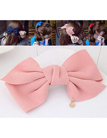 Fashion Pink Bowknot Decorated Pure Color Design Hair Claw