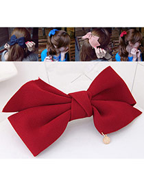 Fashion Dark Red Bowknot Decorated Pure Color Design Hair Claw