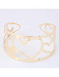 Bohemia Gold Color Heart Shape Decorated Simple Hollow Out Opening Bracelet