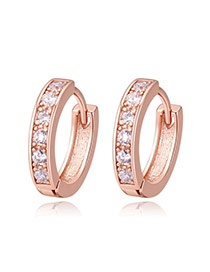 Fashion Rose Gold Round Shape Diamond Decorated Simple Earrings