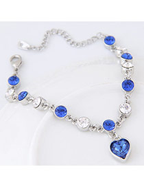 Cute Blue Heart Shape Diamond Decorated Simple Bracelet