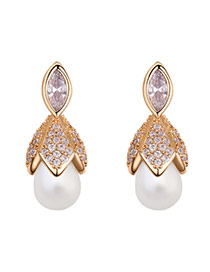 Elegant Gold Color Oval Shape Pearl Decorated Simple Earrings