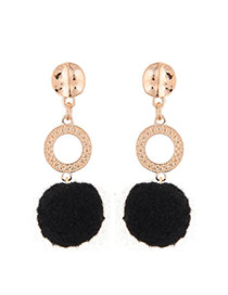Fashion Black Fuzzy Ball Pendant Decorated Color Matching Earrings