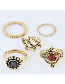 Trendy Antique Gold Round Shape Diamond Decorated Irregular Shape Ring(5pc)