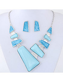 Trendy Blue Pure Color Decorated Irregular Shape Jewelry Sets