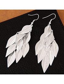 Trendy Silver Color Leaf Pendant Decorated Pure Color Simple Earrings
