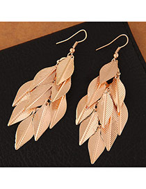 Trendy Gold Color Leaf Pendant Decorated Pure Color Simple Earrings