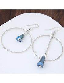 Elegant Dark Blue Bullet Shape Pendant Decorated Color Matching Simple Earrings