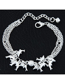 Fashion Silvercolor Dolphin Shape Pendant Decorated Pure Color Multi-layer Bracelet