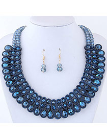 Elegant Dark Blue Round Shape Diamond Decorated Pure Color Jewelry Sets