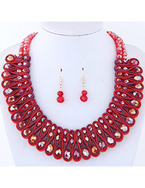 Elegant Red Round Shape Diamond Decorated Pure Color Jewelry Sets
