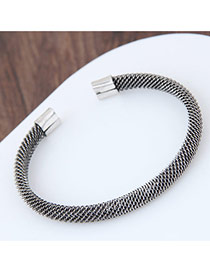 Fashion Silver Color Pure Color Decorated Hand-woven Opening Bracelet