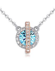 Fashion Blue Round Shape Diamond Decorated Color Matching Necklace