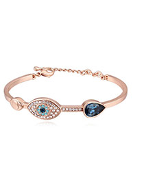 Fashion Champagne+dark Blue Eye Shape Decorated Color Matching Simple Bracelet