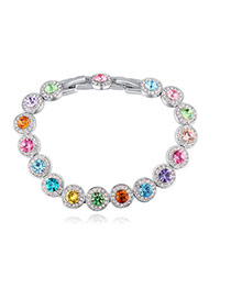 Fashion Multi-color Round Shape Decorated Color Matching Simple Bracelet