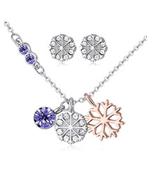 Fashion Multi-color Snowflake Pendant Decorated Color Matching Jewelry Sets
