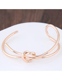 Fashion Rose Gold Bowknot Shape Decorated Pure Color Opening Bracelet