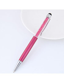 Personalized Plum Red Diamond Decorated Color Matching Simple Memorial Pen