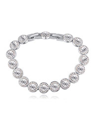 Fashion White Round Shape Diamond Decorated Pure Color Bracelet