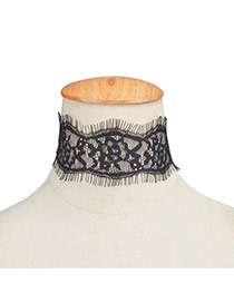 Exaggerated Black Hollow Out Flower Decorated Pure Color Lace Chocker