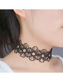 Elegant Black Hollow Out Flower Decorated Pure Color Lace Chocker