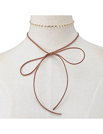 Elegant Brown Bowknot Pendant Decorated Doule Layer Chocker