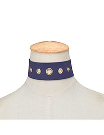 Exaggerated Navy Blue Hollow Out Rivet Decorated Pure Color Chocker
