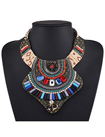 Fashion Multi-color Square Shape Diamond Decorated Irregular Shape Necklace