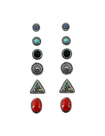 Fashion Red Diamond Decorated Round Shape Design Simple Earrings (6pcs)