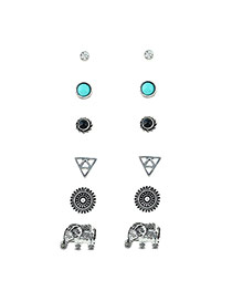 Fashion Silver Color Round Shape Diamond Decorated Elephant Shape Earrings (6pcs)