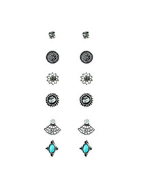 Fashion Black Round Shape Diamond Decorated Hollow Out Design Earrings (6pcs)