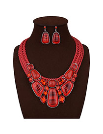 Exaggerated Red Irregular Shape Gemstone Decorated Pure Color Jewelry Sets