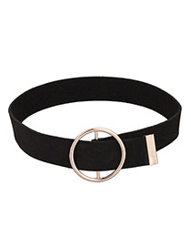 Fashion Black+gold Color Hollow Out Round Shape Buckle Decorated Simple Choker