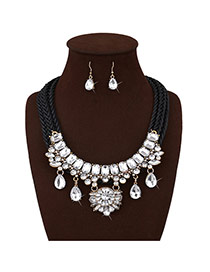 Personalized Black Water Drop Diamond Decorated Multi-layer Hand-woven Rope Jewelry Sets Reviews