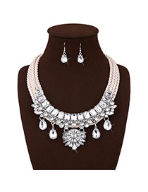 Personalized White Water Drop Diamond Decorated Multi-layer Hand-woven Rope Jewelry Sets