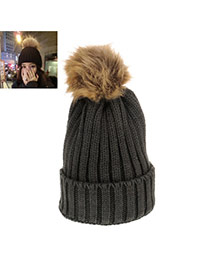 Sweet Dark Gray Fuzzy Ball Decorated Pure Color Cap