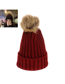 Sweet Claret-red Fuzzy Ball Decorated Pure Color Cap