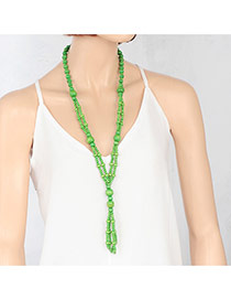 Fashion Green Double Layer Beads Decorated Pure Color Necklace