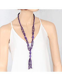 Fashion Purple Double Layer Beads Decorated Pure Color Necklace