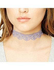 Elegant Purple Hollow Out Flower Decorated Pure Color Lace Necklace