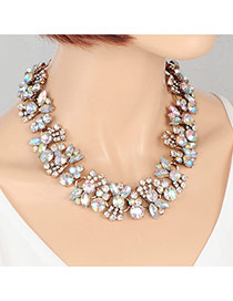 Fashion Multi-color Round Shape Diamond Decorated Bowknot Shape Simple Necklace