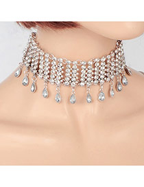 Fashion Silver Color Water Drop Diamond Pendant Decorated Pure Color Hollow Out Choker