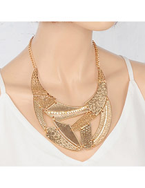 Fashion Gold Color Irregular Shape Decorated Pure Color Hollow Out Necklace