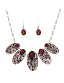 Fashion Red Diamond Decorated Oval Shape Jewelry Sets