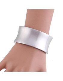 Elegant Silver Color Pure Color Design Simple Width Bracelet