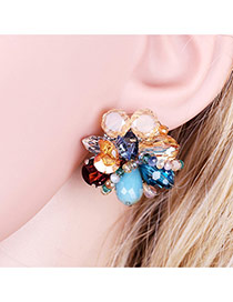 Fashion Multi-color Water Drop Diamond Decorated Flower Shape Earrings